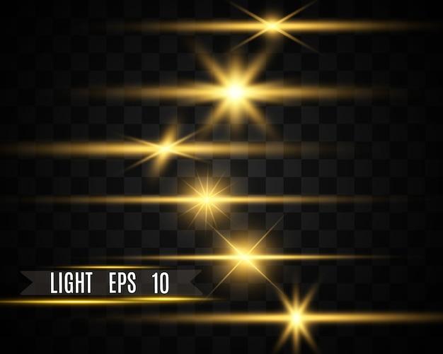 Conjunto de estrelas lindas brilhantes. efeito de luz. estrela brilhante. luz bonita para ilustrar. o brilho branco brilha com efeito de luz especial. brilhos de vetor.