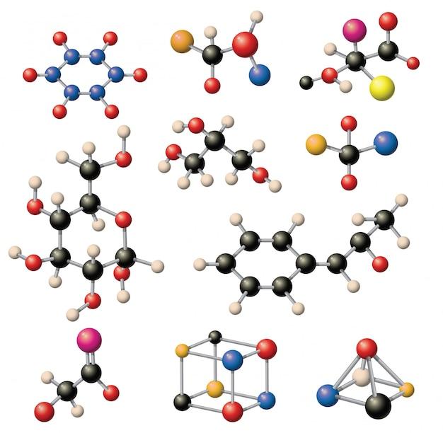 Conjunto de estrutura molecular.