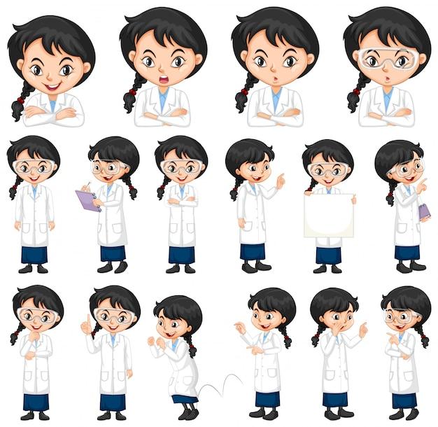 Conjunto de estudante de ciência em poses diferentes