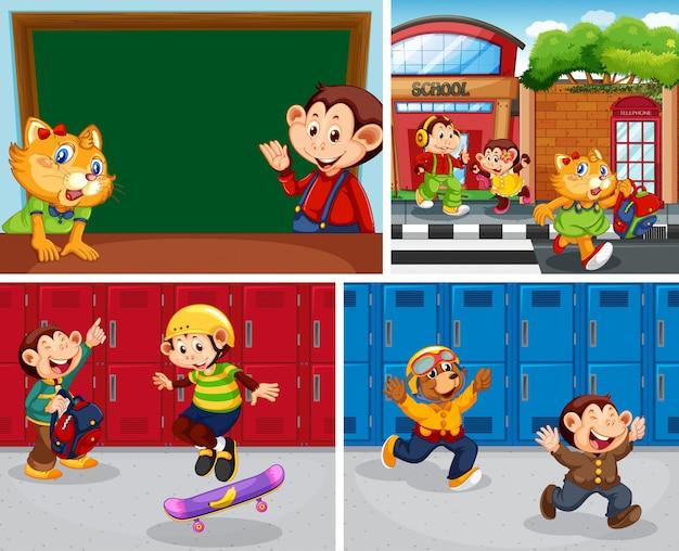 Conjunto de estudantes de animais na escola