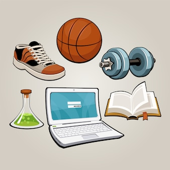 Conjunto de estudantes de esportes e educação