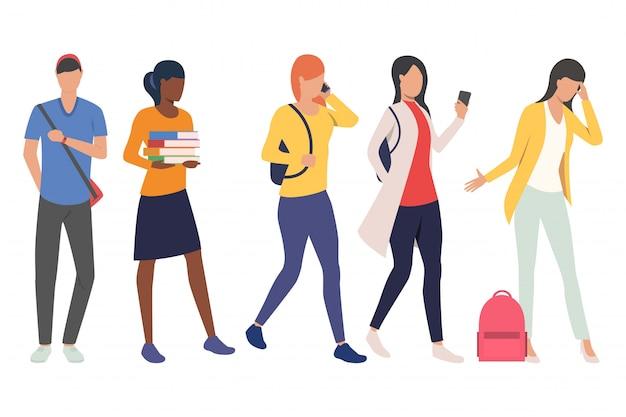 Conjunto de estudantes do sexo feminino e masculino em movimento