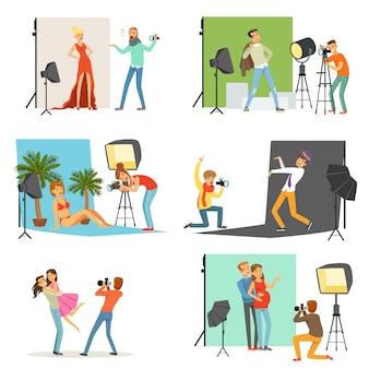 Conjunto de estúdio de fotografia, fotógrafos tirando fotos de pessoas diferentes com equipamento fotográfico profissional ilustrações