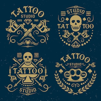 Conjunto de estúdio de tatuagem de logotipos vintage de vetor