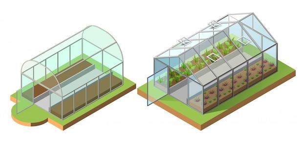 Conjunto de estufa para o cultivo de vegetais. ilustração 3d isométrica ícone