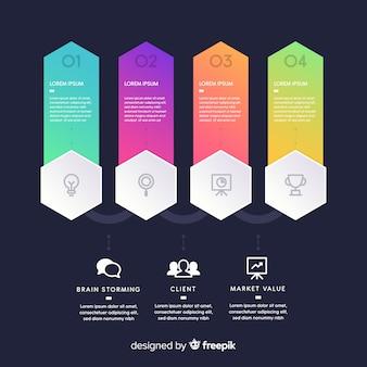 Conjunto de etapas de infográfico gradiente