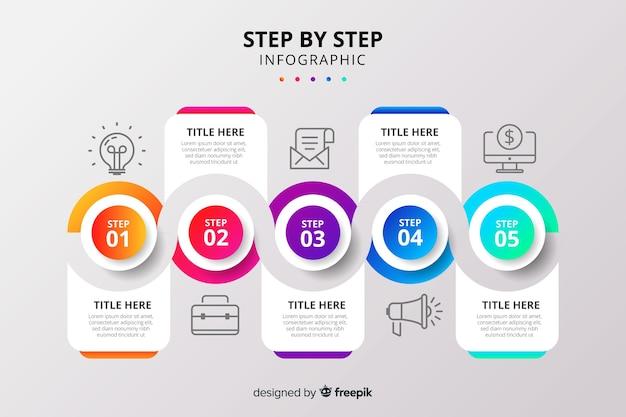 Conjunto de etapas gradientes infográfico