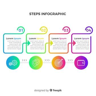 Conjunto de etapas infográfico plana