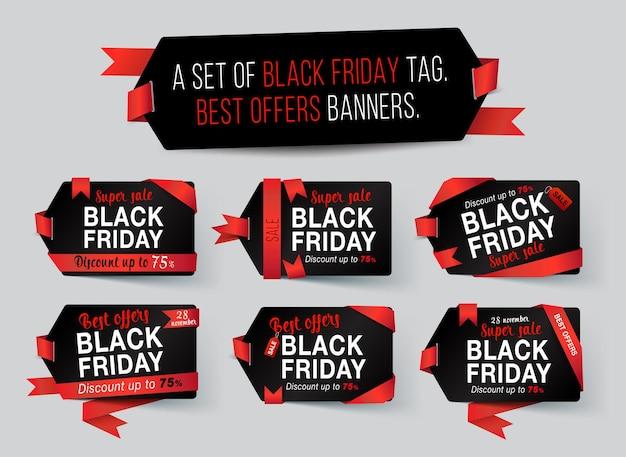 Conjunto de etiqueta black friday com fita vermelha