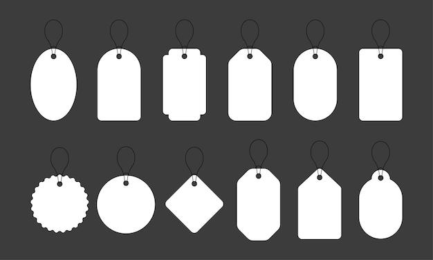 Conjunto de etiqueta branca em estilo retro textura abstrata branca forma de círculo sinal de venda decoração elegante