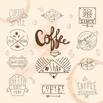 Conjunto de etiqueta café vintage retrô