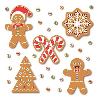 Conjunto de etiqueta de biscoito de gengibre de natal. cookies coloridos tradicionais com flocos de neve, árvore de natal, bastão de doces isolado no branco. elementos de design gráfico de férias para scrapbooking, adesivos, emblemas