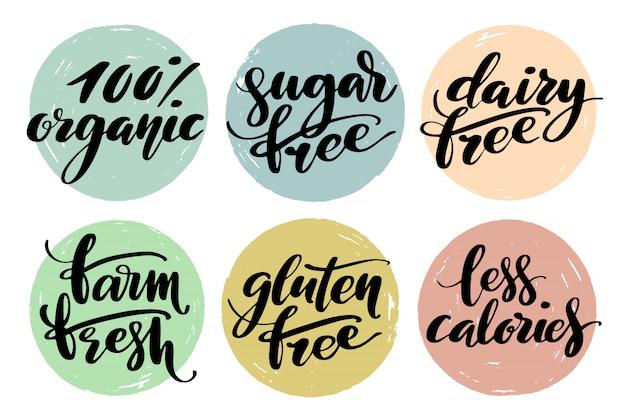 Conjunto de etiqueta de comida saudável