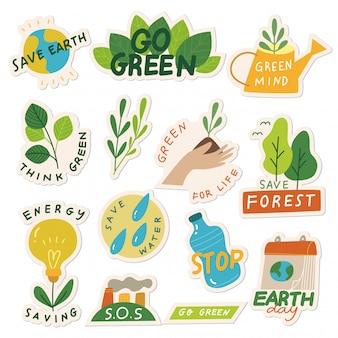 Conjunto de etiqueta de ecologia com slogan