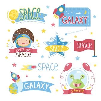 Conjunto de etiqueta de espaço dos desenhos animados