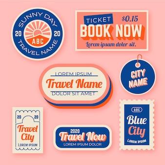 Conjunto de etiqueta de estilo dos anos 70 de viagem