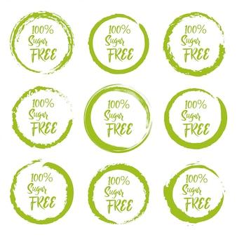 Conjunto de etiqueta de etiqueta livre de açúcar grunge em um fundo branco