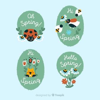 Conjunto de etiqueta de mão desenhada primavera