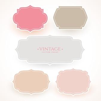 Conjunto de etiqueta de moldura vintage em cores suaves