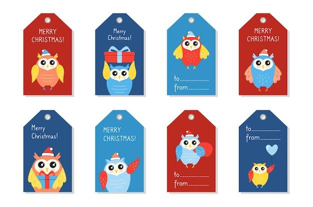 Conjunto de etiqueta de natal, pássaro de desenho animado de coruja