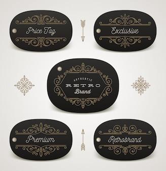 Conjunto de etiqueta de preço ou etiqueta de marca com decoração de floreios. ilustração.