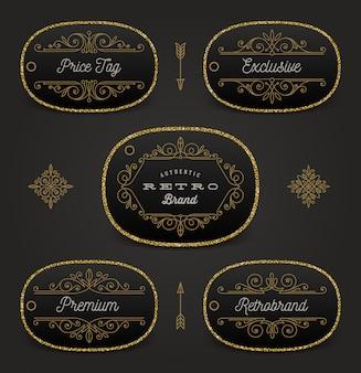 Conjunto de etiqueta de preço ou etiqueta de marca com ouro glitter e decoração floreada. ilustração.
