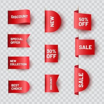 Conjunto de etiqueta de preço realista fita vermelha. coleção de etiquetas de oferta de venda