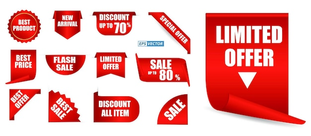 Conjunto de etiqueta de preço realista isolado ou mock up em branco etiquetas vermelhas oferecem coleção ou modelo de fita