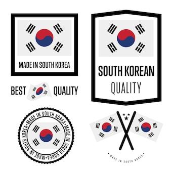 Conjunto de etiqueta de qualidade da coreia do sul
