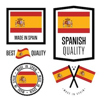 Conjunto de etiqueta de qualidade de espanha
