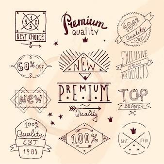 Conjunto de etiqueta de qualidade retro premium