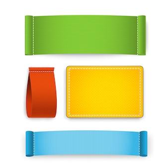 Conjunto de etiqueta de roupas coloridas