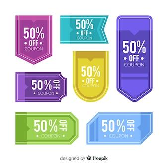 Conjunto de etiqueta de venda de cupom criativo