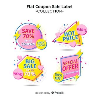 Conjunto de etiqueta de venda de cupom