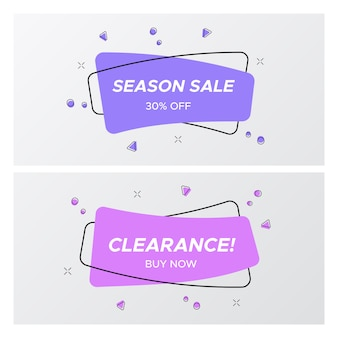 Conjunto de etiqueta de venda violeta em cores da moda e design