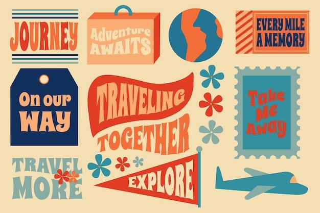 Conjunto de etiqueta de viagem estilo anos 70