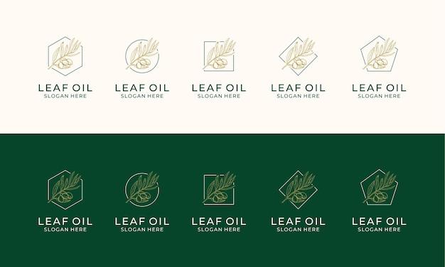 Conjunto de etiqueta desenhada à mão de modelo de logotipo de azeite de oliva extra virgem