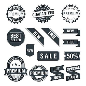 Conjunto de etiqueta e emblema de promoção