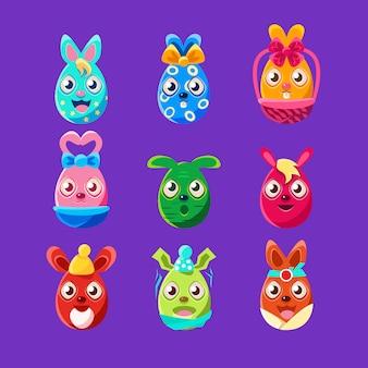 Conjunto de etiqueta feminina colorida de coelhinhos em forma de ovo de páscoa de símbolos de feriado religioso