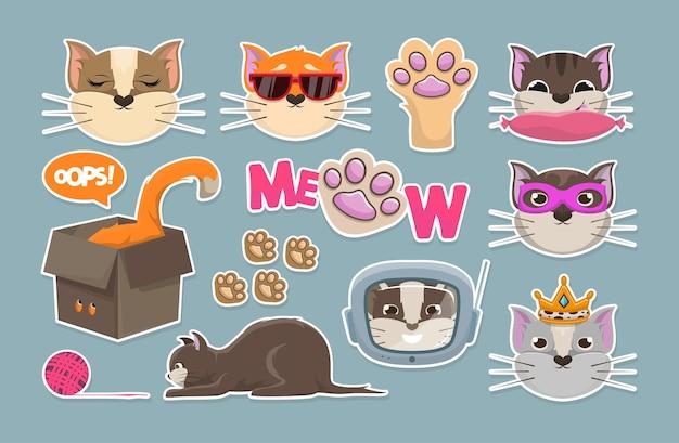 Conjunto de etiqueta grande de gatos. correção.