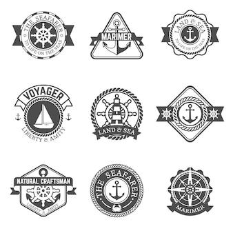 Conjunto de etiqueta isolada náutica
