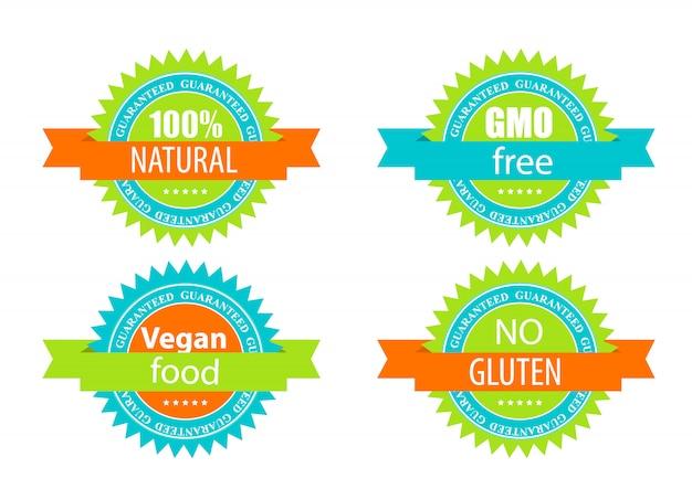 Conjunto de etiqueta livre de ogm, natutal, comida vegana e glúten