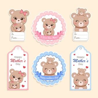 Conjunto de etiqueta para presente feliz dia das mães, mamãe urso