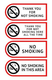 Conjunto de etiquetas adesivos de não fumar