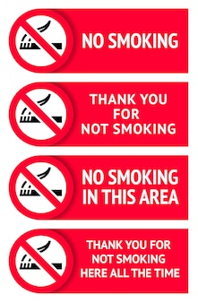 Conjunto de etiquetas adesivos não fumadores