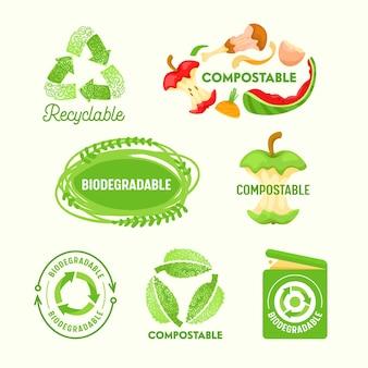 Conjunto de etiquetas ambientais, sinal de triângulo reciclável, resíduos compostáveis, lata de lixo biodegradável.