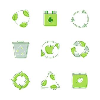 Conjunto de etiquetas ambientais, sinalização triangular reciclável