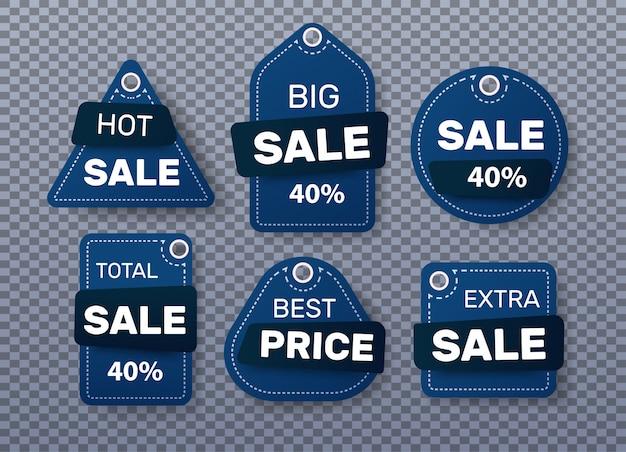 Conjunto de etiquetas azuis de venda