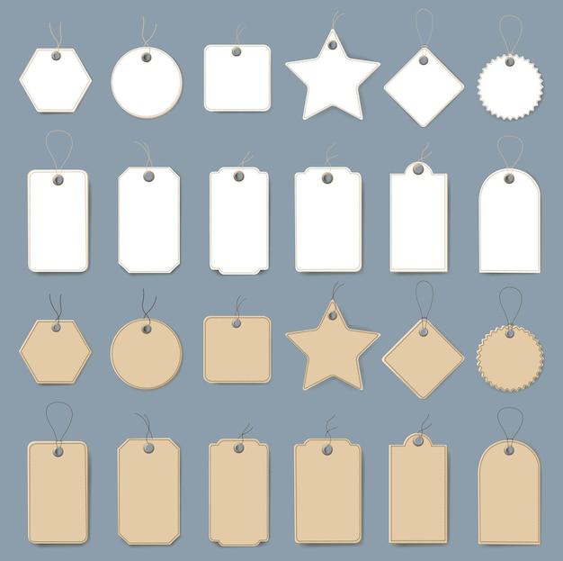 Conjunto de etiquetas brancas e cartonadas