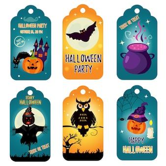 Conjunto de etiquetas brilhantes de halloween com personagens festivos brilhantes